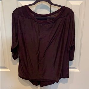 Dark maroon purple LULULEMON 3/4 length sleeve